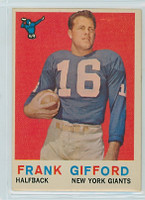 1959 Topps Football 20 Frank Gifford New York Giants Very Good to Excellent