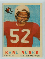 1959 Topps Football 112 Karl Rubke San Francisco 49ers Excellent to Mint