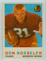 1959 Topps Football 123 Don Bosseler Washington Redskins Very Good to Excellent