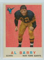 1959 Topps Football 138 Al Barry New York Giants Excellent