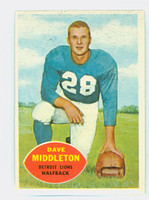 1960 Topps Football 43 Dave Middleton Detroit Lions Excellent to Mint
