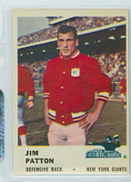 1961 Fleer Football 72 Jim Patton New York Giants Excellent to Mint
