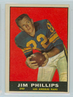 1961 Topps Football 51 Jim Phillips Los Angeles Rams Excellent to Excellent Plus