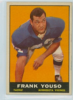 1961 Topps Football 82 Frank Youso Minnesota Vikings Excellent to Mint