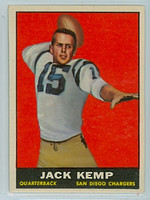 1961 Topps Football 166 Jack Kemp San Diego Chargers Excellent to Mint