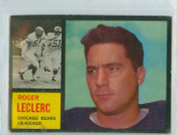 1962 Topps Football 19 Roger LeClerc Chicago Bears Excellent
