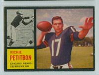 1962 Topps Football 23 Richie Petitbon ROOKIE Chicago Bears Excellent to Excellent Plus