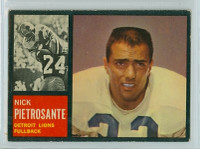 1962 Topps Football 52 Nick Pietrosante Single Print Detroit Lions Excellent