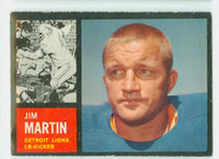 1962 Topps Football 55 Jim Martin Detroit Lions Very Good to Excellent
