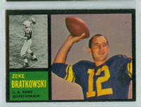 1962 Topps Football 77 Zeke Bratkowski Single Print Los Angeles Rams Excellent to Excellent Plus