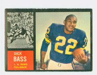 1962 Topps Football 80 Dick Bass Single Print Los Angeles Rams Excellent