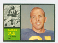1962 Topps Football 82 Carroll Dale ROOKIE Los Angeles Rams Excellent to Mint