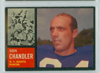 1962 Topps Football 107 Don Chandler New York Giants Excellent to Excellent Plus