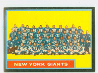 1962 Topps Football 114 Giants Team Excellent