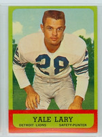 1963 Topps Football 33 Yale Lary Detroit Lions Excellent to Mint