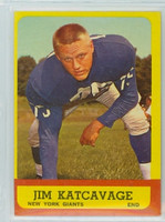 1963 Topps Football 55 Jim Katcavage Single Print New York Giants Excellent to Excellent Plus