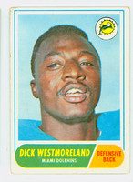 1968 Topps Football 118 Dick Westmoreland Miami Dolphins Very Good