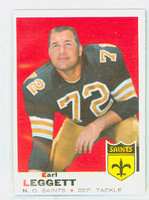 1969 Topps Football 196 Earl Leggett New Orleans Saints Excellent to Mint