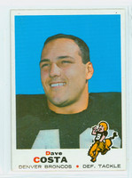 1969 Topps Football 213 Dave Costa Denver Broncos Excellent to Mint