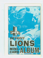 1969 Topps Football 4-1 Booklets 6 Detroit Lions Excellent