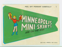 1967 Topps Football Comic Pennants 5 b Minneapolis Mini Skirts Minnesota Vikings Near-Mint