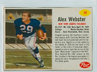 1962 Post Football 30 Alex Webster New York Giants Excellent to Mint