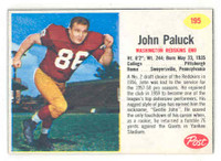 1962 Post Football 195 John Paluck Washington Redskins Excellent