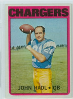 1972 Topps Football 15 John Hadl San Diego Chargers Excellent to Mint