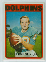 1972 Topps Football 80 Bob Griese Miami Dolphins Excellent to Mint
