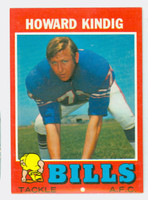 1971 Topps Football 33 Howard Kindig Buffalo Bills Very Good to Excellent
