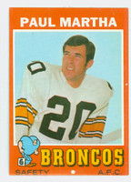1971 Topps Football 38 Paul Martha Denver Broncos Excellent to Mint