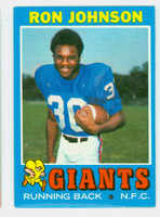1971 Topps Football 51 Ron Johnson ROOKIE New York Giants Excellent