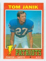 1971 Topps Football 82 Tom Janik Boston Patriots Excellent to Mint