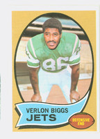1970 Topps Football 3 Verlon Biggs New York Jets Excellent to Mint