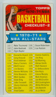 1970 Topps Basketball 101 Checklist Two Near-Mint