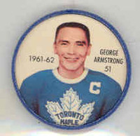 1961-62 Shiriff Hockey Coins 51 George Armstrong Toronto Maple Leafs Near-Mint