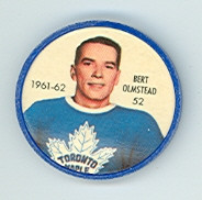 1961-62 Shiriff Hockey Coins 52 Bert Olmstead Toronto Maple Leafs Excellent