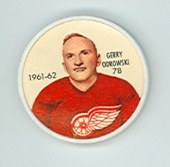 1961-62 Shiriff Hockey Coins 78 Gerry Odrowski Detroit Red Wings Near-Mint Plus