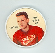 1961-62 Shiriff Hockey Coins 80 Hank Bassen Detroit Red Wings Near-Mint Plus