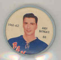 1961-62 Shiriff Hockey Coins 88 Andy Bathgate New York Rangers Near-Mint