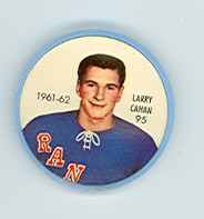 1961-62 Shiriff Hockey Coins 95 Larry Cahan New York Rangers Excellent to Mint