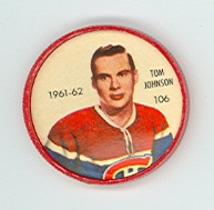 1961-62 Shiriff Hockey Coins 106 Tom Johnson Montreal Canadiens Excellent to Mint