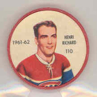 1961-62 Shiriff Hockey Coins 110 Henri Richard Montreal Canadiens Near-Mint