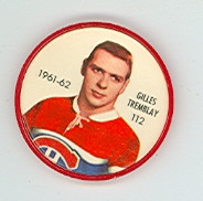 1961-62 Shiriff Hockey Coins 112 Gilles Tremblay Montreal Canadiens Excellent
