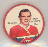 1961-62 Shiriff Hockey Coins 114 Ralph Backstrom Montreal Canadiens Near-Mint