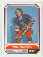 1975-76 OPC WHA Hockey Tom Simpson Toronto Toros Near-Mint Plus