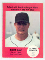 1968 Atlantic Oil Norm Cash Detroit Tigers Excellent to Mint