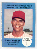 1968 Atlantic Oil Johnny Callison Philadelphia Phillies Excellent to Excellent Plus