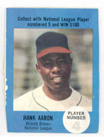1968 Atlantic Oil Hank Aaron Atlanta Braves Excellent