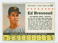 1961 Post Baseball 152 Ed Bressoud BOX  San Francisco Giants Very Good to Excellent